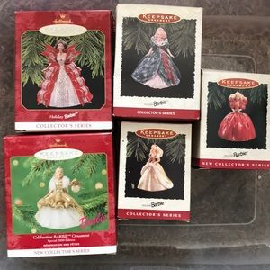 Barbie holiday ornaments 93, 94, 95, 97, 2009